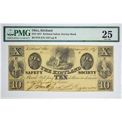 1837 $10 Kirtland Safety Society Bank. Kirtland, OH. Nyholm 3. Rust 8. PMG Very Fine 25. S/N 1557 Ma