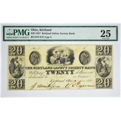 Tied for Third Finest $20 Kirtland Note Signed by Joseph Smith. 1837 $20 Kirtland Safety Society Ban