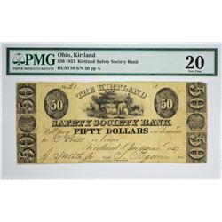 Rarest Kirtland Denomination and High Grade $50 Kirtland Note. 1837 $50 Kirtland Safety Society Bank