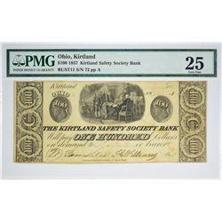A Second High Grade $100 Kirtland Note. 1837 $100 Kirtland Safety Society Bank. Kirtland, OH. Nyholm