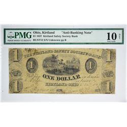 1837 $1 Kirtland Safety Society Bank. Kirtland, OH. Anti-Banking. Nyholm 8. Rust 12. PMG Very Good 1