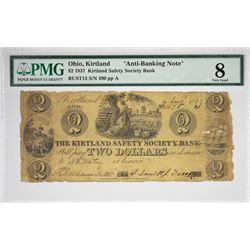 Rarest of the Anti-Banking Kirtland Notes. 1837 $2 Kirtland Safety Society Bank. Kirtland, OH. Anti-