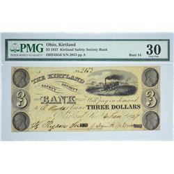 Scarce Signature Combination on Rare Anti-Banking $3. 1837 $3 Kirtland Safety Society Bank. Kirtland
