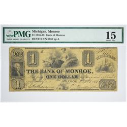 Rare Bank of Monroe $1 with Oliver Cowdery Signature. $1 The Bank of Monroe, Monroe, MI. Oliver Cowd