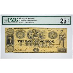 One of a Few Known $3 Monroe Notes Signed by Cowdery. $3 The Bank of Monroe, Monroe, MI. Oliver Cowd