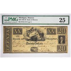$20 The Bank of Monroe. Monroe, MI. Nyholm 42. Rust 25. PMG Very Fine 25. S/N 25.