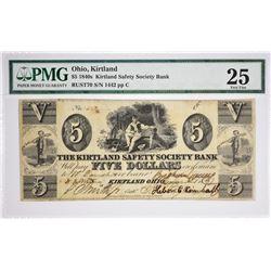Rare and High Quality Countersigned $5 Kirtland Note. 1837 $5 Kirtland Safety Society Bank. Kirtland