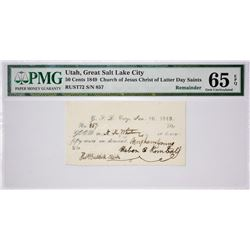 Finest PMG Certified Gem 50c Valley Note. 50 Cents Great Salt Lake City, Utah. White Note. Nyholm 97