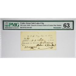 50 Cents Great Salt Lake City, Utah. White Note. Nyholm 97/102. Rust 72. PMG Choice Uncirculated 63.