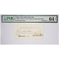 Second Finest Certified $1 White Note. $1.00 Great Salt Lake City, Utah. White Note. Nyholm 98. Rust