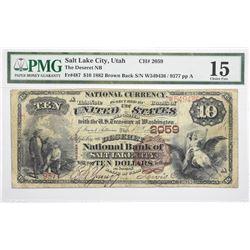 Scarce Deseret National Bank Note. 1882 $10 Deseret NB. Salt Lake City, Utah. Brown Back Fr. 487