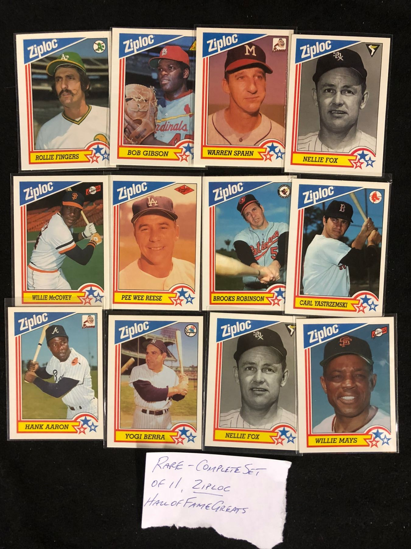 Rare Ziploc Hall Of Fame Greats Baseball Cards 11 Cards Complete Set