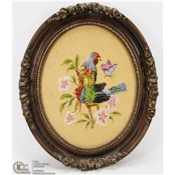 LARGE TAPESTRY IN ROSE FRAME - BIRDS ON A BRANCH.