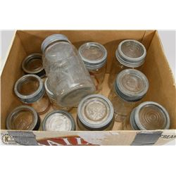 BOX OF VINTAGE JARS, SOME WITH LIDS