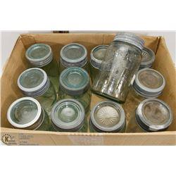 BOX OF VINTAGE JARS WITH LIDS