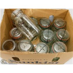 BOX OF VINTAGE JARS, MOST WITH LIDS