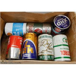 BOX FULL OF VINTAGE OIL CANS.