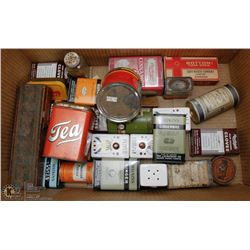 COLLECTION OF ANTIQUE SPICE TINS.