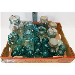LARGE FLAT OF BLUE GLASS CANNING JARS & INSULATORS