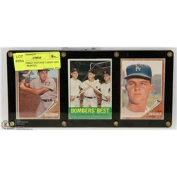 SET OF THREE VINTAGE CARDS INCL MICKEY MANTLE