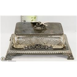 PINWHEEL SILVER PLATED BUTTER DISH.