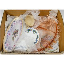 BOX W/VINTAGE PLATTER & FINE CHINA FROM