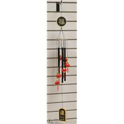 WIND CHIME ADORNED WITH RED ORIENTAL LANTERNS
