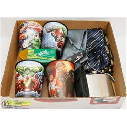 BOX W/UTILITY KNIFE, FLASK, COLLECTION OF