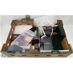 BOX OF VARIOUS JEWELRY CASES AND MORE
