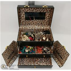 LARGE BLACK AND LEOPARD JEWELRY CASE FILLED