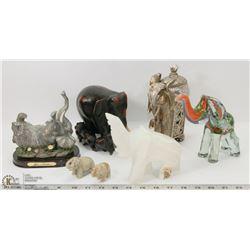 7 ELEPHANTS GLASS , STONE EBONY &PORCELAIN