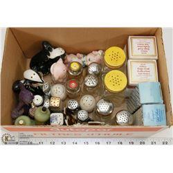 3) BOX OF VINTAGE SALT & PEPPER SHAKERS.