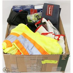 BOX WITH NEW PPE INCL. GLOVES, SAFETY