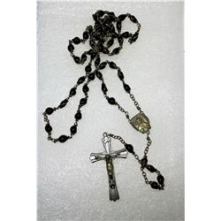 14 - BLACK BEAD ROSARY WITH MEDAL &