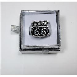 10 - ROUTE 66 RHODIUM PLATED & BLACK