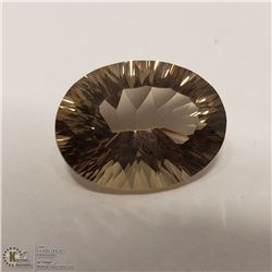 29) SMOKY QUARTZ, OPTIC CUT, OVAL, APPROX 8 CTS