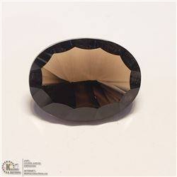 55) SMOKY QUARTZ, OPTIC CUT, OVAL, APPROX 7 CTS
