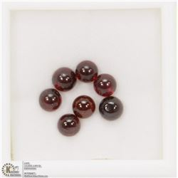 19) GENUINE GARNETS, ROUND CABOCHON, APPROX 6 CTS