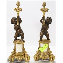 2 VINTAGE HEAVY BRASS CHERUB DECOR PIECES