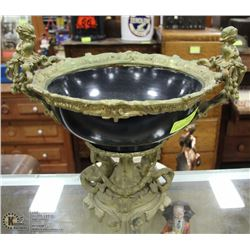 VERY HEAVY VINTAGE  ORNATE AND BRASS FRUIT BOWL/