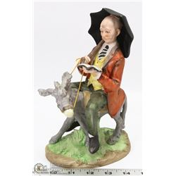 OLD MAN RIDING A DONKEY HANDPAINTED ESP FIGURINE