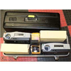 LOT  OF 2 VINTAGE  PROJECTORS, TRAYS, LENSES IN