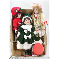 BOX OF 3 PORCELAIN DOLLS & JAR OF BEADS.