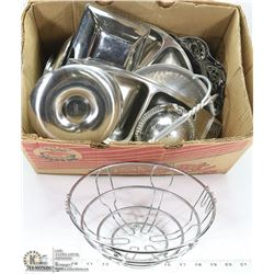 BOX OF ASSORTED SILVER PLATED ITEMS