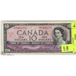 1954 CANADIAN DEVILS FACE $10 BILL.
