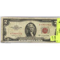 1953 US RED SEAL 2 DOLLAR BILL.