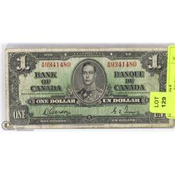 1937 CANADIAN $1 BILL.