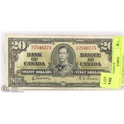 1937 CANADIAN $20 BILL.