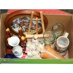 BOX OF ASSORTED CRYSTAL INCL BLUE MOUNTAIN POTTERY