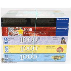 LOT OF 5 NEW RAVENSBURGER 1000PC PUZZLES